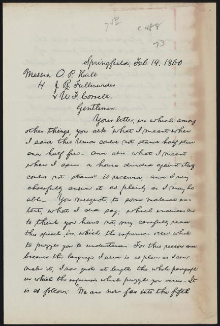 [Facsimile of] letter to Messrs. O. P. Hall et al from Lincoln.