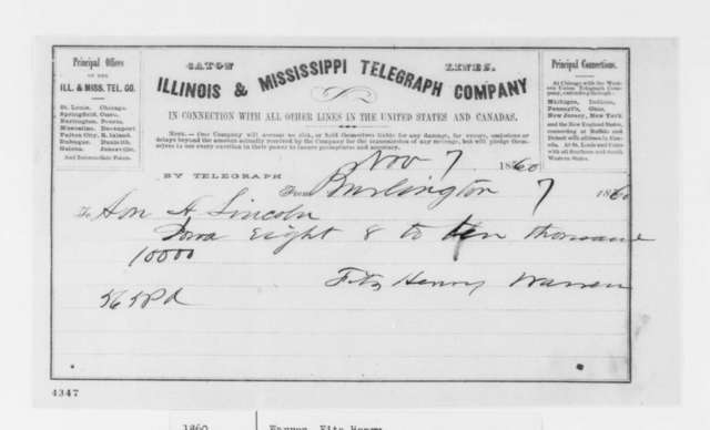 Fitz Henry Warren to Abraham Lincoln, Wednesday, November 07, 1860  (Telegram reporting election results)