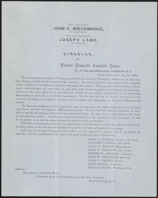 For President, John C. Breckinridge, of Kentucky. For Vice-President, Joseph Lane, of Oregon.