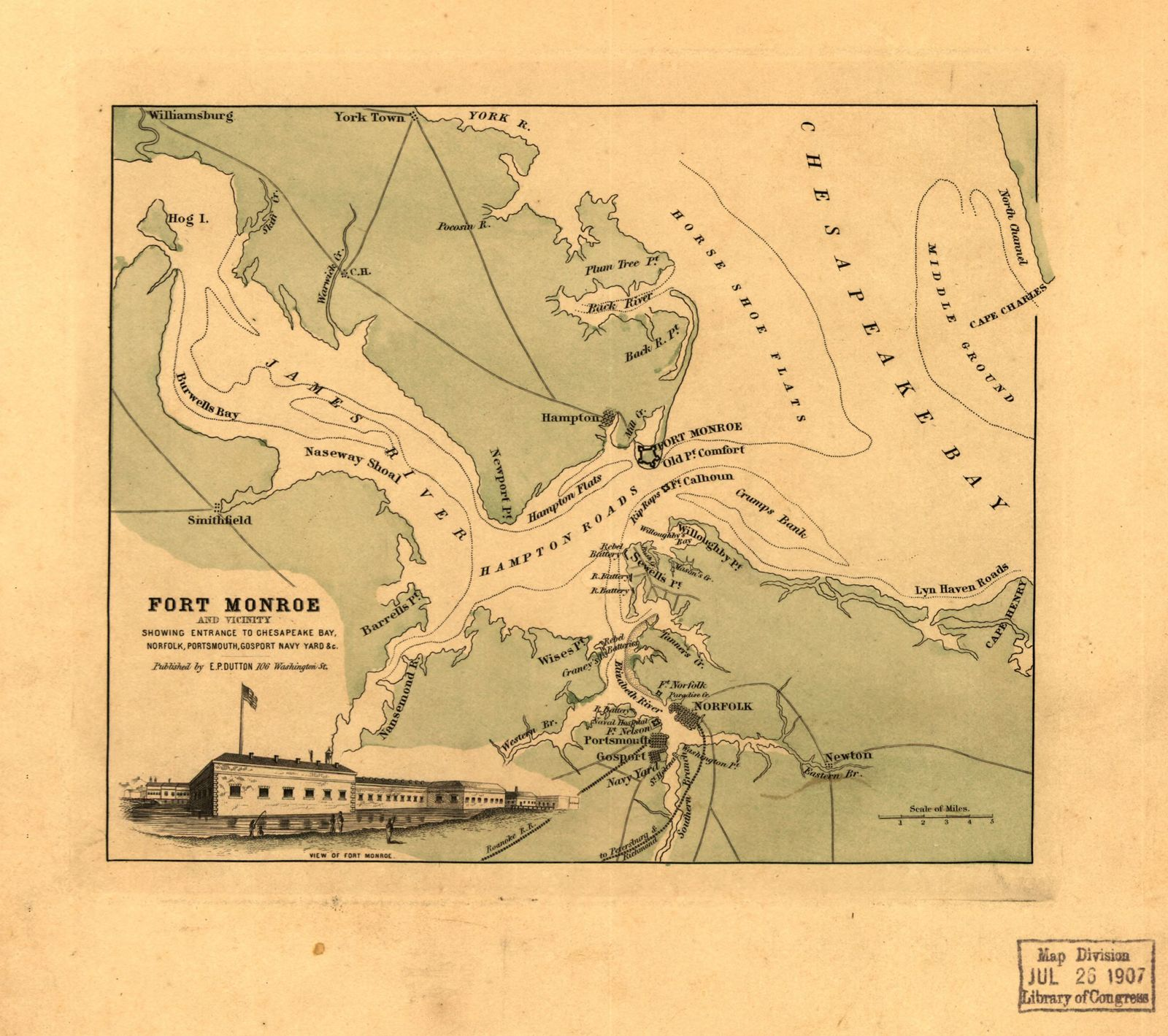 Fort Monroe and vicinity showing entrance to Chesapeake Bay, Norfolk, Portsmouth, Gosport Navy Yard &c.