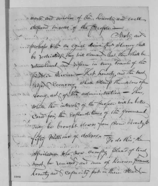 Francis E. Spinner to Abraham Lincoln, Monday, July 23, 1860  (Spoils system)