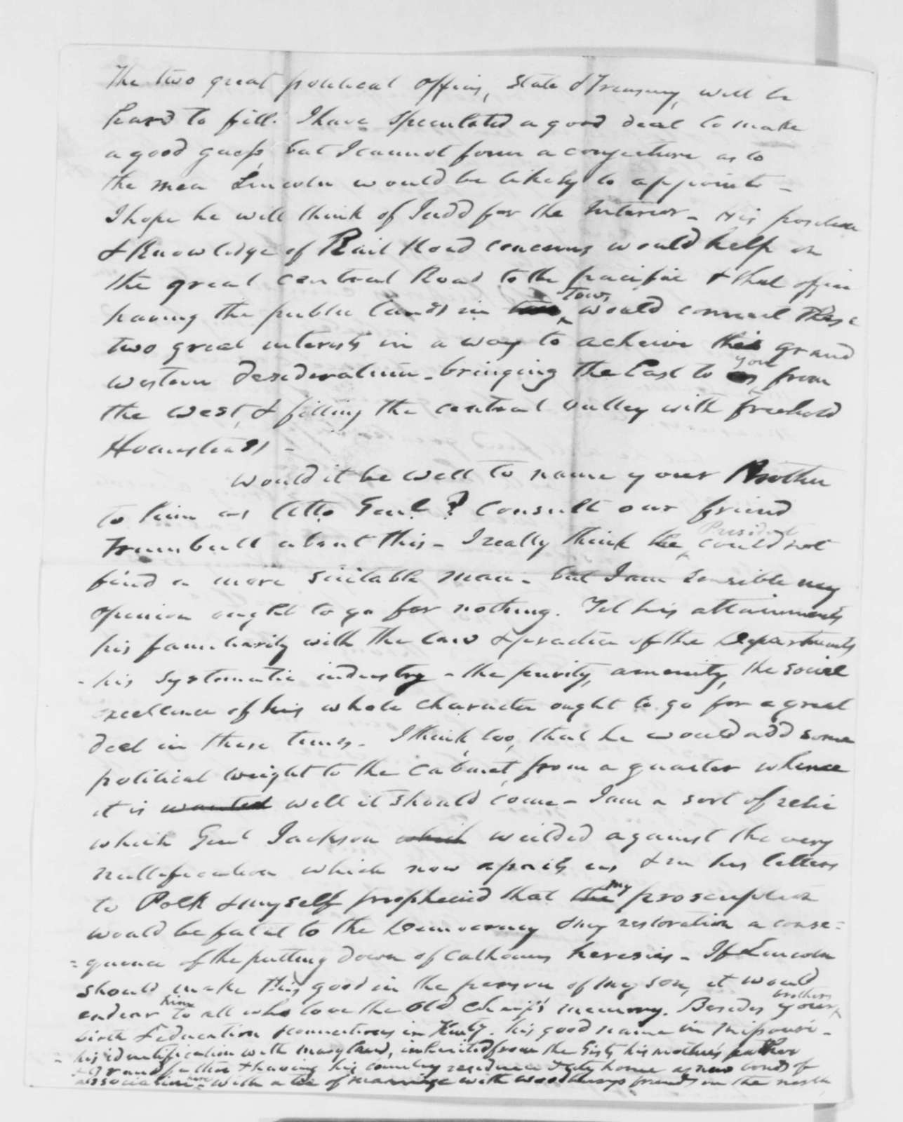 Francis P. Blair Sr. to Francis P. Blair Jr., Saturday, October 27, 1860  (Cabinet appointments and other political affairs)