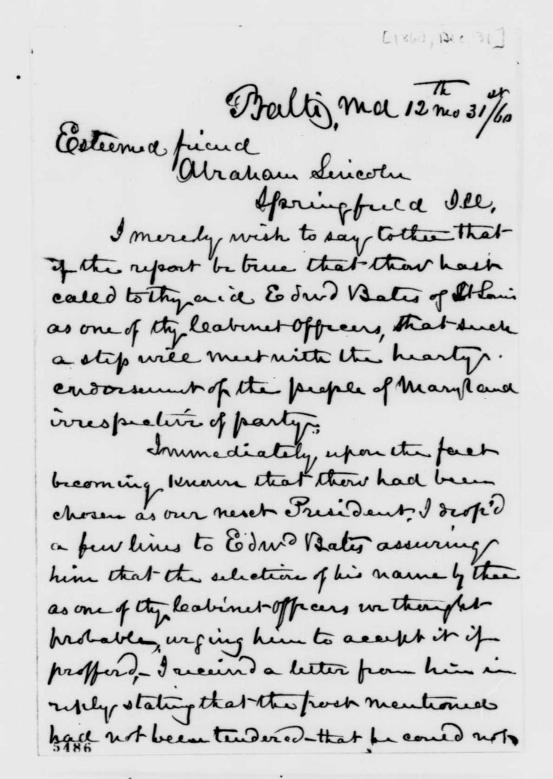 Francis S. Corkran to Abraham Lincoln, Monday, December 31, 1860  (Cabinet appointments)