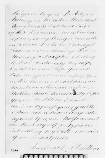 Frederick Amthor to Abraham Lincoln, Saturday, December 15, 1860  (Warns Lincoln to guard his life against assassination plots)