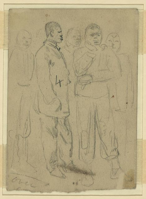 [Full length sketches of five African American men]