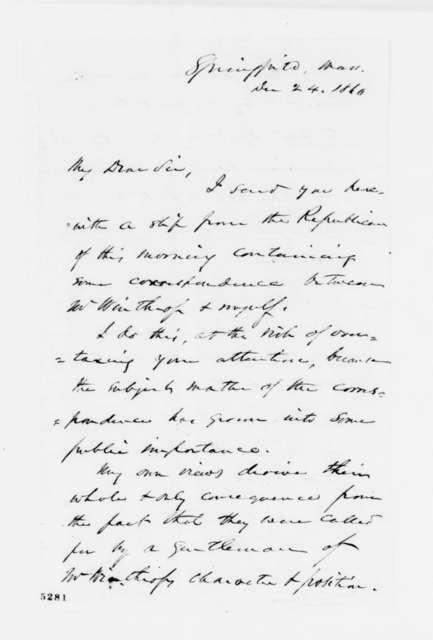 George Ashmun to Abraham Lincoln, Monday, December 24, 1860  (Forwards clippings)