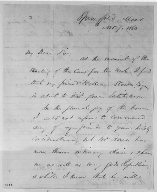 George Ashmun to Abraham Lincoln, Wednesday, November 07, 1860  (Introduction)