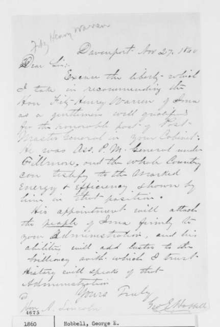 George E. Hobbell to Abraham Lincoln, Tuesday, November 27, 1860  (Wants Fitz Henry Warren as Postmaster General)