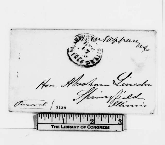 """George G. Fogg to Abraham Lincoln, Monday, December 17, 1860  (""""Secession panic"""" amongst Republicans in Washington)"""