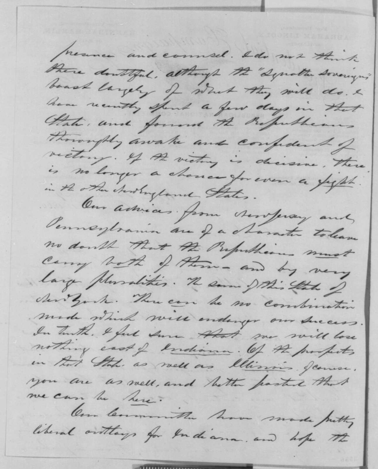 George G  Fogg to Abraham Lincoln, Saturday, August 18, 1860