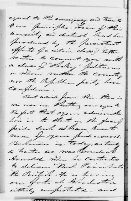 George G. Fogg to Abraham Lincoln, Thursday, December 13, 1860  (Report of a meeting with Chase and affairs in Washington)