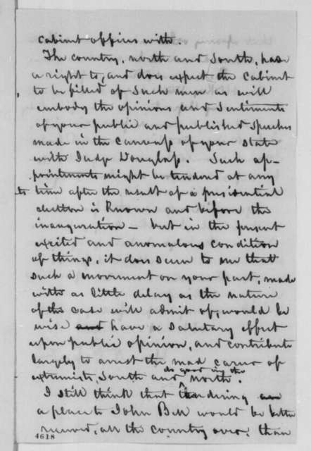 George N. Eckert to Abraham Lincoln, Friday, November 23, 1860  (Recommends John Bell for cabinet)