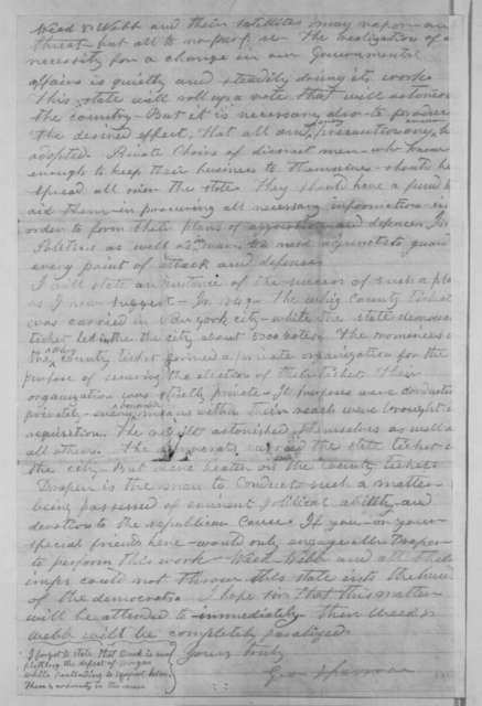 George Sparrow to Abraham Lincoln, Wednesday, August 01, 1860  (New York politics)