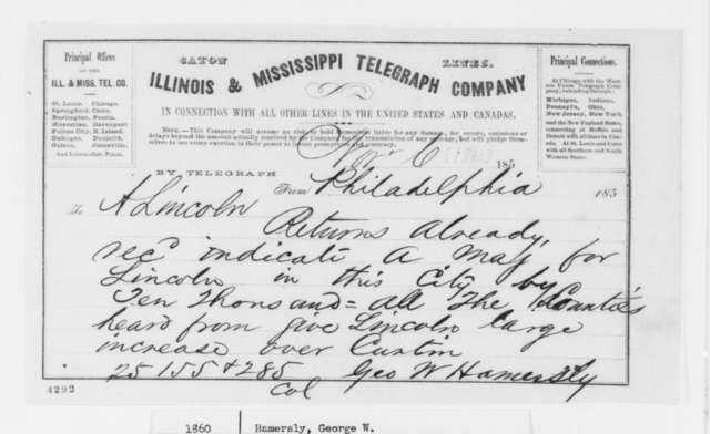 George W. Hamersly to Abraham Lincoln, Tuesday, November 06, 1860  (Telegram reporting election results)