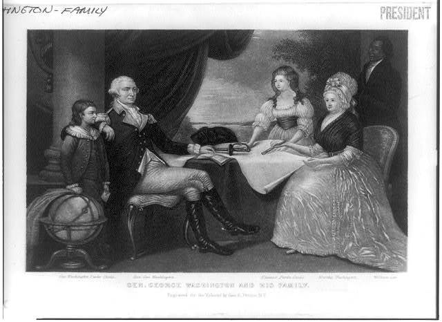 George Washington and his family [around table]