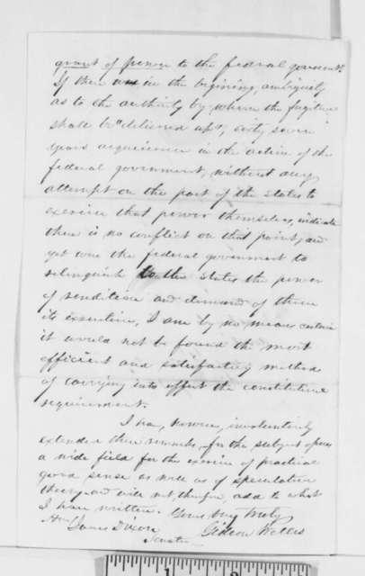 Gideon Welles to James Dixon, Wednesday, December 05, 1860  (Fugitive Slave Law)