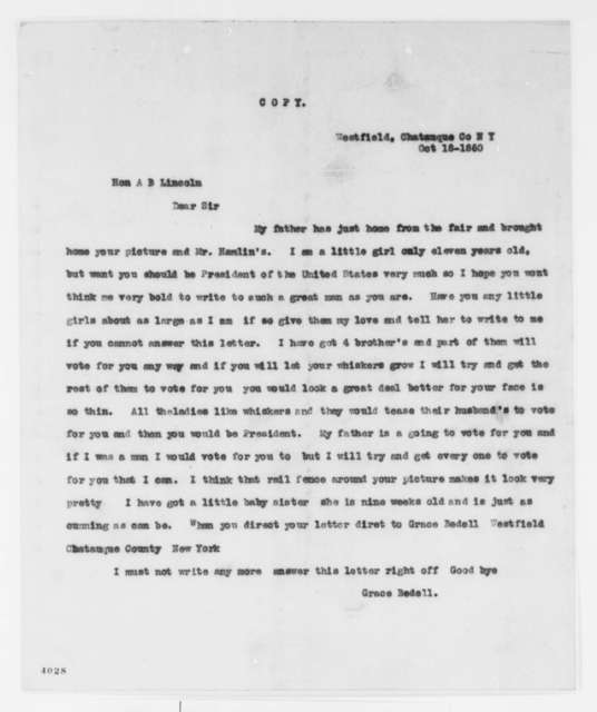 Grace Bedell to Abraham Lincoln, Thursday, October 18, 1860  (Typed copy)