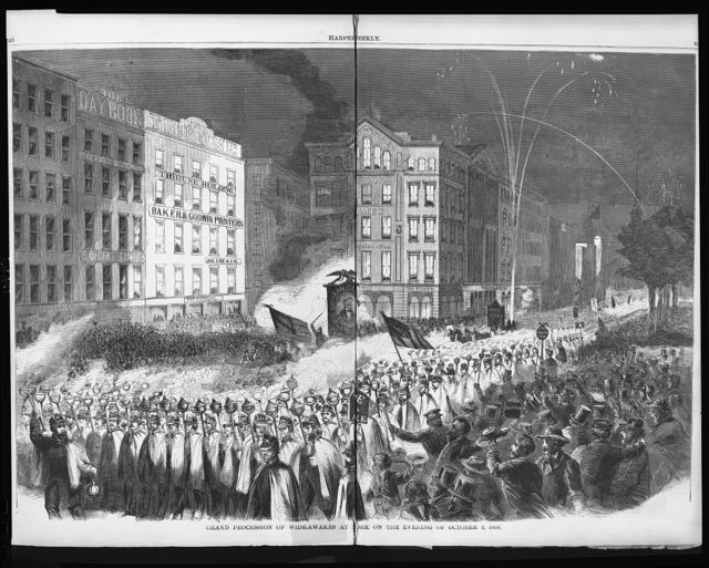 Grand procession of Wide-Awakes at New York on the evening of October 3, 1860.  Republican Wide Awakes in N.Y. - Lincoln-Hamlin Campaign [Printing-House Square (Park Row and Nassau St.)]