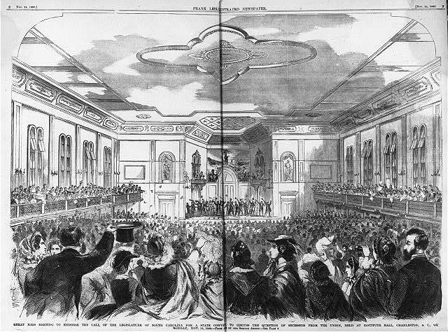 Great mass meeting to endorse the call of the Legislature of South  Carolina for a state convention to discuss the question of secession from the Union, held at Institute Hall, Charleston, S.C., on Monday, Nov. 12, 1860