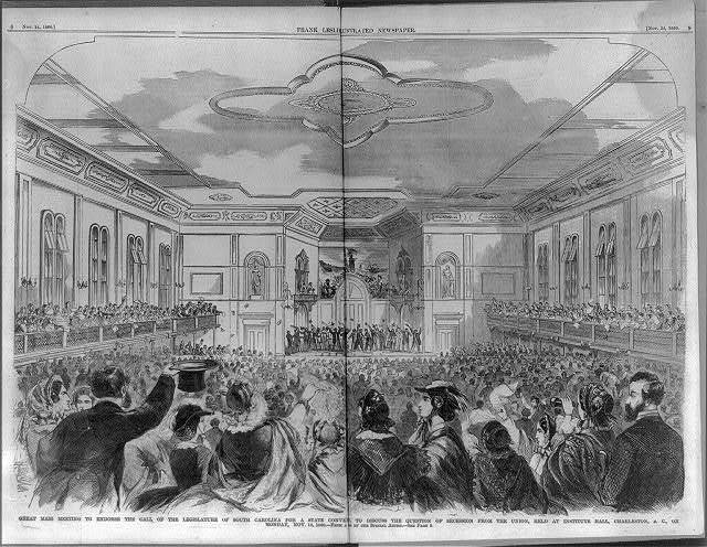 Great mass meeting to endorse the call of the legislature of South Carolina for a state conv. to discuss the question of secession from the Union, held at Institute Hall, Charleston, S.C. on Monday, Nov. 12, 1860