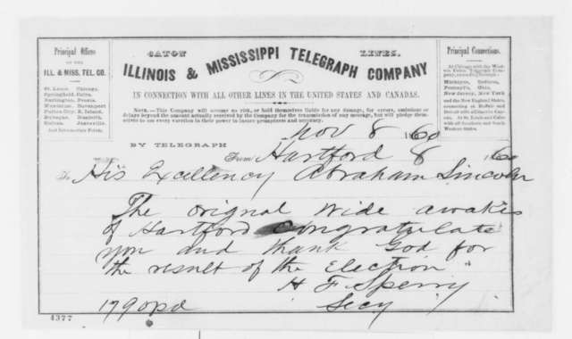 H. F. Sperry to Abraham Lincoln, Thursday, November 08, 1860  (Telegram offering congratulations)