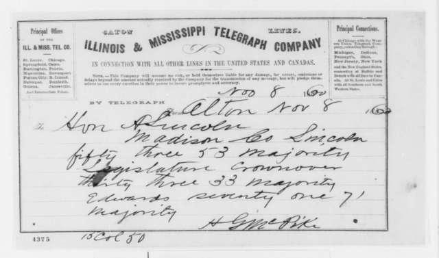 H. G. McPike to Abraham Lincoln, Thursday, November 08, 1860  (Telegram reporting election results)
