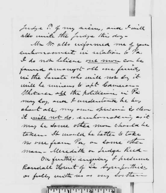 Hannibal Hamlin to Abraham Lincoln, Thursday, December 27, 1860  (Report of meeting with Weed)