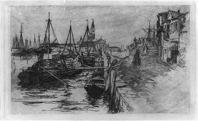 Harbor and docks with fishing smacks, Italy