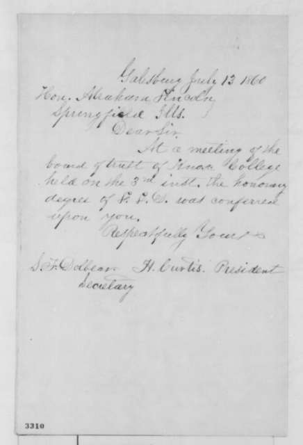 Harvey Curtis to Abraham Lincoln, Friday, July 13, 1860  (Honorary degree from Knox College)