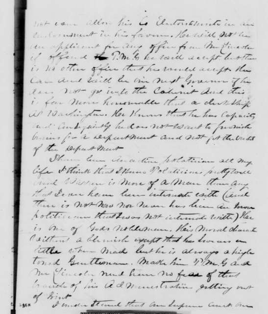 Hawkins Taylor to David Davis, Thursday, December 27, 1860  (Cabinet recommendations)