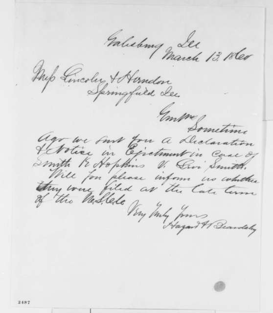 Hazard & Beardsley to Lincoln & Herndon, Tuesday, March 13, 1860  (Requests information)
