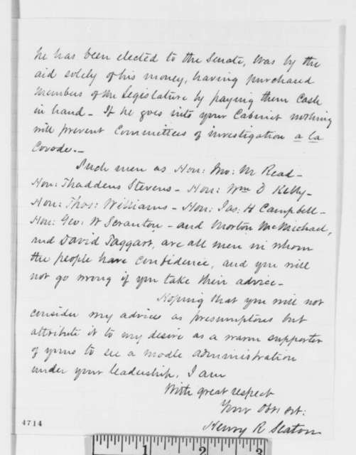 Henry R. Slaton to Abraham Lincoln, Thursday, November 29, 1860  (Opposes Galusha Grow and Cameron)