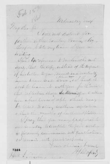 "Henry S. Sanford to Abraham Lincoln, [November 7, 1860]  (Suggests Lincoln attempt to ""allay southern agitation"")"
