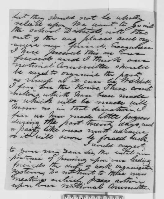 Henry Wilson to Abraham Lincoln, Saturday, August 25, 1860  (Campaign efforts in New York and New England)