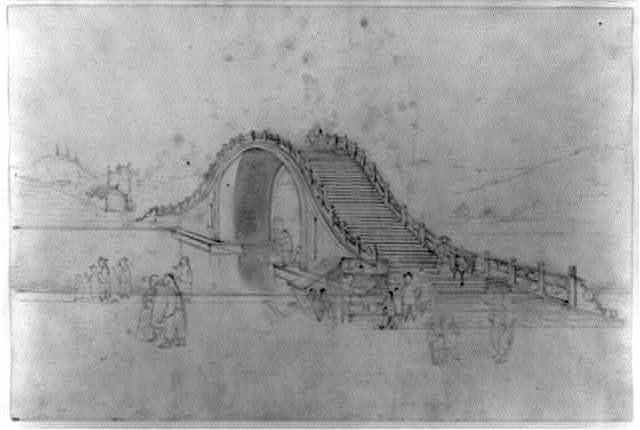 """[High-arched bridge over river, with street vendor selling """"ice cold plum juice"""" in the foreground]"""
