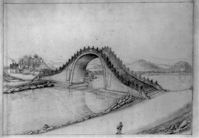 [High arched pedestrian bridge spanning river in China]