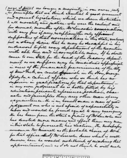 Hiram Barney to William Butler, Saturday, December 29, 1860  (Current events and how Lincoln should deal with the South)