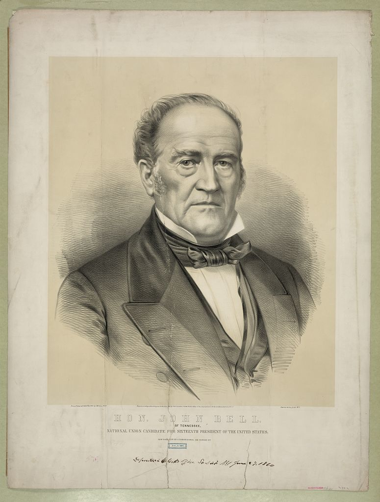Hon. John Bell: of Tennessee, national union candidate for sixteenth president of the United States