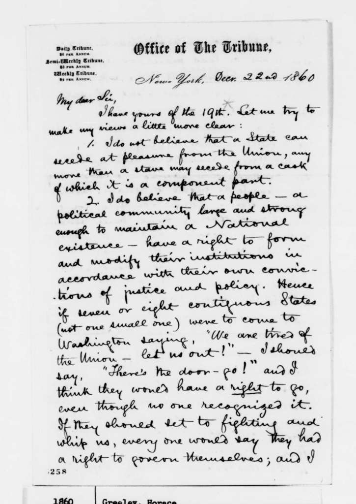 Horace Greeley to Abraham Lincoln, Saturday, December 22, 1860  (Secession)