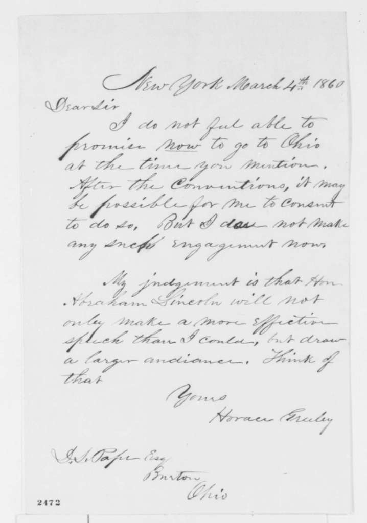 Horace Greeley to D. L. Pope, Sunday, March 04, 1860  (Endorsement)