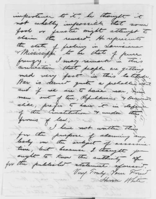 Horace White to Abraham Lincoln, Tuesday, December 11, 1860  (Rumor of assassination attempt)