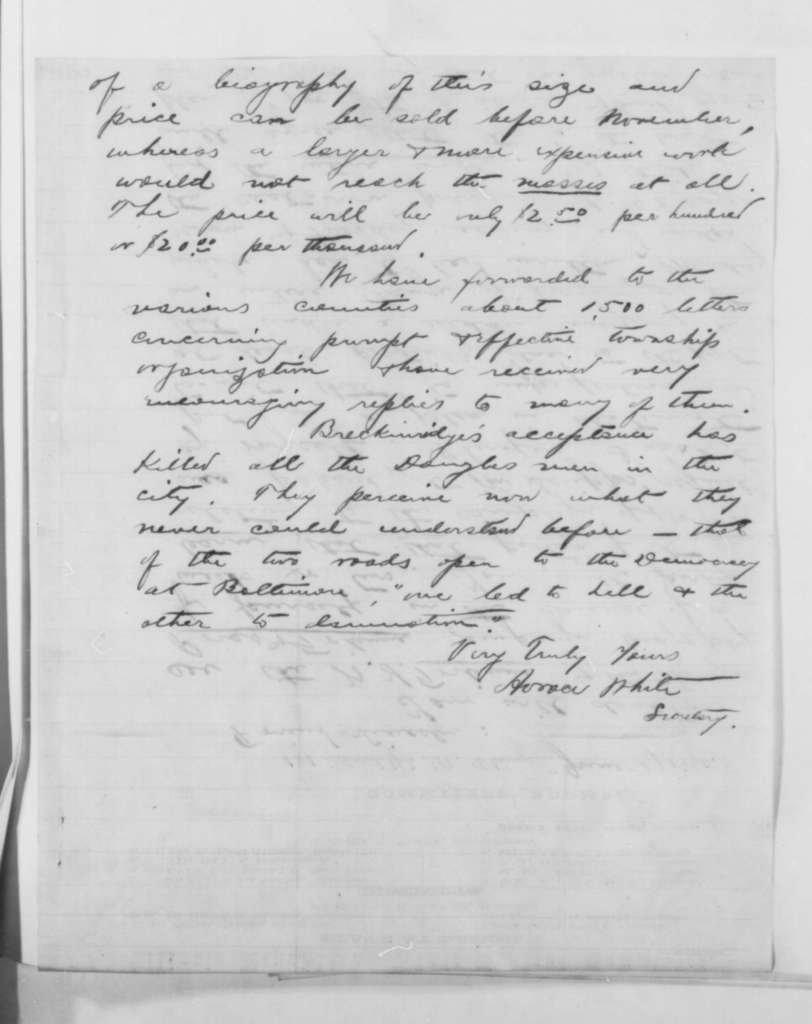 Horace White to Abraham Lincoln, Wednesday, June 27, 1860  (Campaign biography)