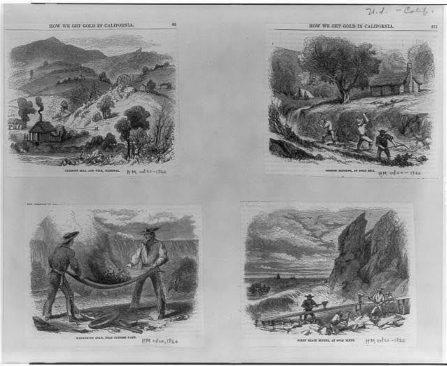 "[How we get gold in California: ""Fremont Mill and vein, Mariposa"", ""Ground sluicing, at Gold Hill"", ""winnowing gold, near Chinese camp,"" and ""ocean beach mining, at gold bluff]"