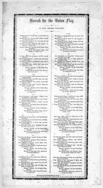 Hurrah for the Union flag. By Hon. Thomas Williams. [Greensburg, Pa.] Westmoreland Republican print. [186-].