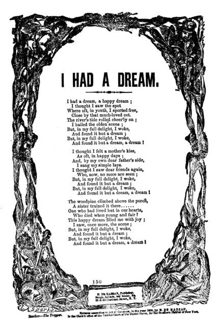 I had a dream. H. De Marsan, Publisher, 38 & 60 Chatham Street, N. Y