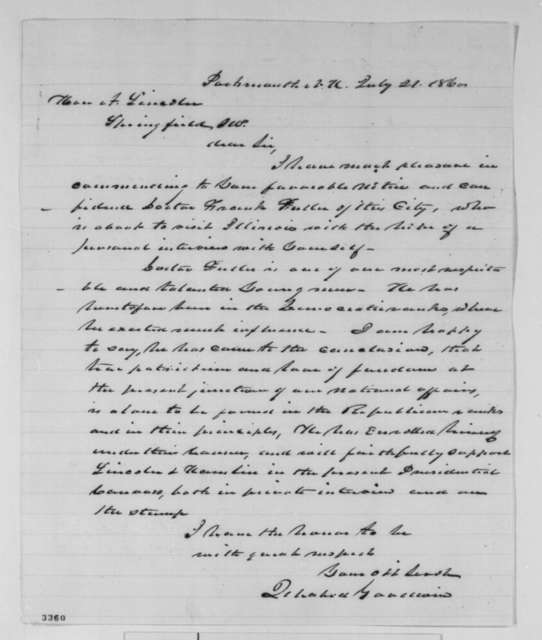 Ichabod Goodwin to Abraham Lincoln, Saturday, July 21, 1860  (Introduction)