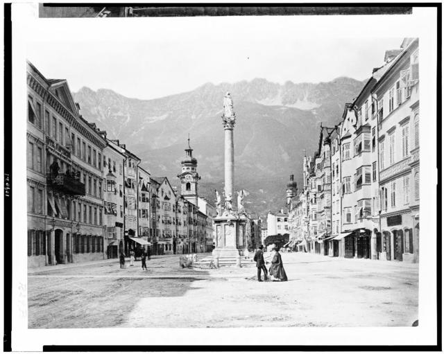[Innsbruck. View of the Maria-Theresienstrasse with the Annasäule in center of street]
