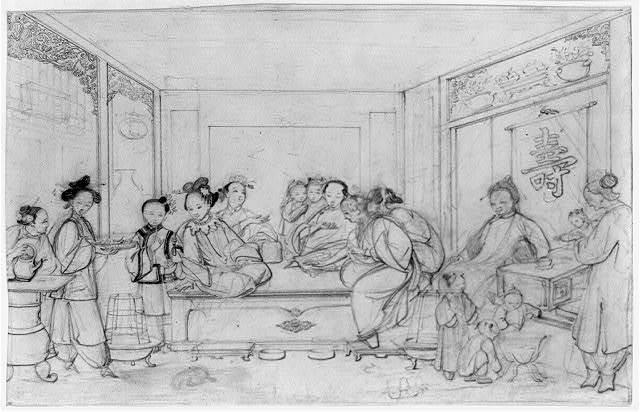[Interior scene showing a birthday party with women preparing tea at left, a group of women on raised platform at center, and children with elders under the Chinese character representing longevity on the right]
