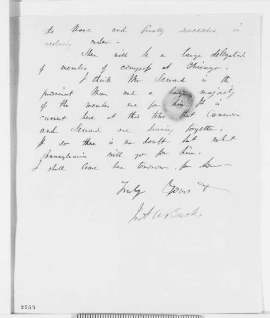 Ira A. W. Buck to Abraham Lincoln, Friday, April 06, 1860  (Political speculation)