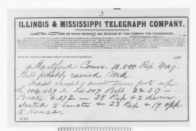 J. C. Short to Unknown, November 1860  (Telegram containing election returns)
